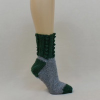 Thick Socks Grey Green Knit Slippers Feet Gray Soft Warm Women Stocking Ladies