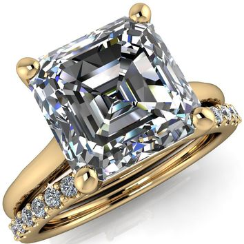 Willie Asscher Moissanite Bow Under Cathedral Engagement Ring