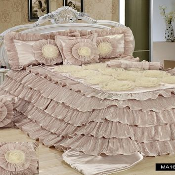 Tache 6 Piece Luxury Beige Cinnamon Chai Ruffled Comforter Set