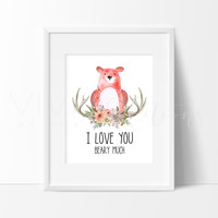 I Love You Beary Much Watercolor Art Print