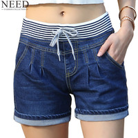 2017 Casual High Waist Shorts Women High Waisted Denim Shorts Elastic Waist Jeans Shorts Plus Size
