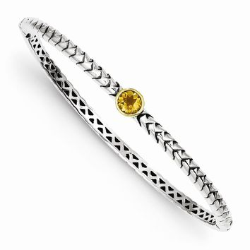 Antique Style Sterling Silver with 14k Gold 6mm Citrine Hinged Bangle Bracelet