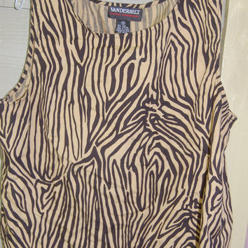Gloria Vanderbilt Tan & Black Zebra Striped Woven Tank Top Blouse Size 14