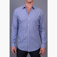 {Business Class} Striped Dress Shirt in Corporate Cobalt