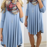 Never Let Go Slate Blue V-Neck Quarter Sleeve Dress