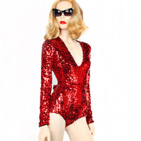 "David Dalrymple for House of Field Sequin ""B"" Bodysuit"