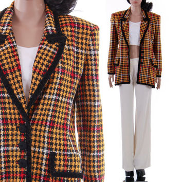 80s Bill Blass Yellow Black Red Houndstooth Plaid Blazer Jacket 1990's Clueless Style Preppy Vintage Designer Clothing Womens Size Medium