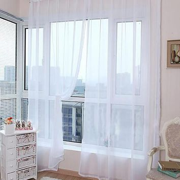 ISHOWTIENDA Tulle Curtains Translucidus Modern Home Window Decoration Voile Curtains for Living Room Single Panel Balcony Blinds