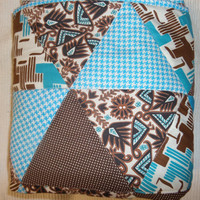 Baby quilt - Boy - Modern - Triangle - Bedding - Blanket - New baby - Gift - Stroller - Homemade - Infant - Brown and teal