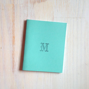 Medium Notebook: Monogram Notebook, Monogram, M, Blue, Blank Journal, Wedding, Custom, Monogram Journal, Unique, Gift, Stocking Stuffer