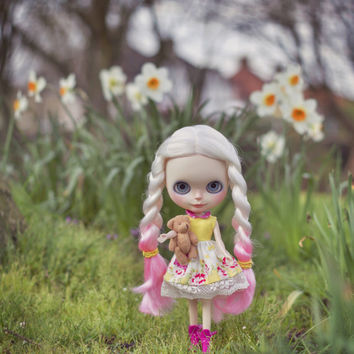 Cute Yellow and Floral Sleeveless Blythe Dress