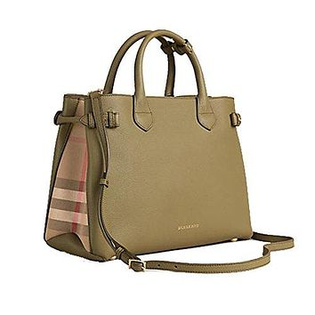 Tote Bag Handbag Burberry Medium Banner in Leather and House Check Pale Pistachion Green Item 39970611