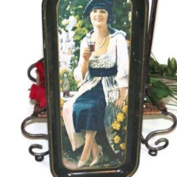 Vintage CocaCola Beautiful Lady Long Tin Tray Advertisement 19 X 8.5  1973