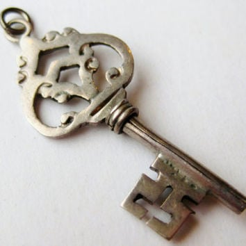 Vintage Taxco Mexican Sterling Silver Figural Key Necklace Pendant