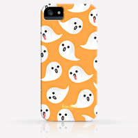 Halloween Spooky Ghost Orange Gray Purple Pattern iPhone 4 Case, iPhone 4s Case, iPhone 5 Case, iPhone 5s Case, iPhone Hard Plastic Case