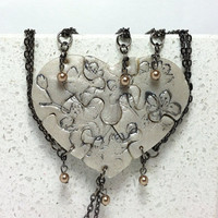 Heart Shaped Puzzle Necklaces Set of 6 Interlocking Necklaces Polymer Clay Silver Cherry Blossoms with Bronze Pearls