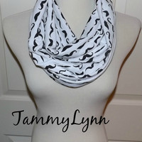 NEW!! Black and White Mustache Soft Jersey Knit Lightweight Infinity Scarf Women's Accessories