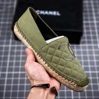 Kuyou Fa219721 Chan Pre Collection Classic Green Fisherman Shoes Slip On