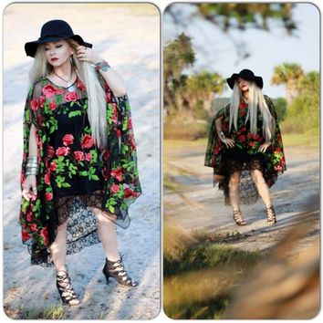 Rose poncho tunic, Gypsy spell black lace poncho, Boho chic summer clothing, Want and Love, True rebel clothing  OS