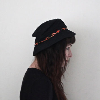 SALE Vintage 90s Grunge // Fire Flame Print Floppy Hat // One Size / Small Medium Large
