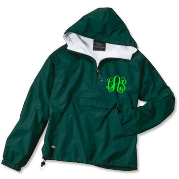 Forest Green Monogrammed Personalized Half Zip Rain Jacket Pullover by Charles River Apparel