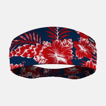 Floral Red Blue Wide Headband