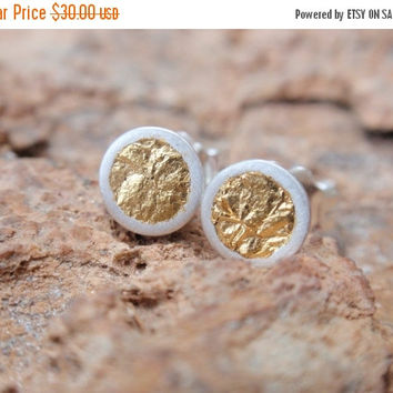 SALE 10% OFF stud earrings gold circle studs sterling silver round cup earrings with 24k gold leaf post earrings