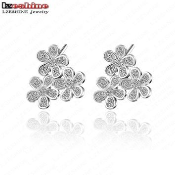 LZESHINE New Design Three Flower Shaped Silver Color Brincos Stud Earring With Micro AAA Cubic Zirconia Women CER0075-B