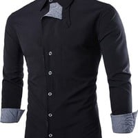 jeansian Men's Fashion Slim Stitching Plaid Long Sleeves Dress Shirts Tops 8731