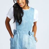 Tyra Denim Pinafore Style Bow Pocket Playsuit