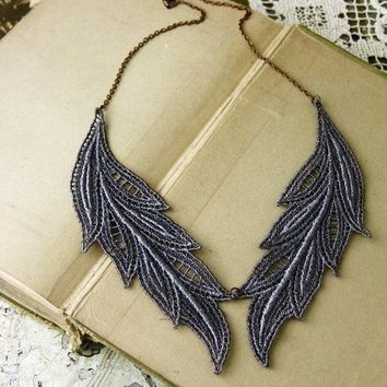 lace necklace MUSE by whiteowl on Etsy