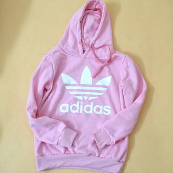 "Fashion ""Adidas"" Print Hooded Pullover Tops Sweater Sweatshirts Pink"