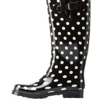 White Polka Dot Printed Rain Boots by Charlotte Russe