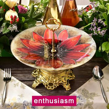 Tempered Glass Fruit Plates Stand Pastry Tray Candy Dishes