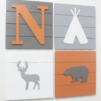 Tribal Decor, Rustic Nursery, Tribal Nursery, Nursery Decor, Woodland Decor, Woodland Nursery, Pallet Board, Tee Pee, Woodland Animals, Bear