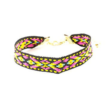 Embroidered Friendship Bracelet Black Pink Yellow Geometric BC44 Tribal Fashion Jewelry