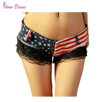 PEAPGB2 2016 Fashion Summer Low Waist US Flag Mini Lace Shorts Jeans Women Slim Fit Denim Short Pants Sexy Ladies shorts Short femme