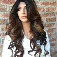 Mia Dark brown blond lace front hair wig 22""
