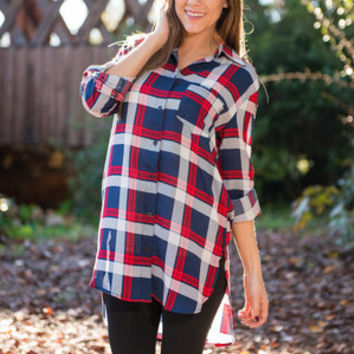 Class With Flying Colors Tunic, Red-Navy