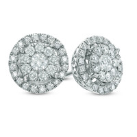 1/2 CT. T.W. Diamond Double Frame Stud Earrings in 10K White Gold