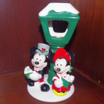 Adorable Vintage Mickey Minnie Mouse Christmas Votive Candle Holder by Teleflora