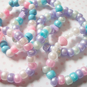 5 Mermaid Fairy Kei Kandi Bracelets Grab Bag, Kawaii Pastel Mermaid Princess Kandi Rave Bracelets