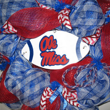 Ole Miss Football Wreath In Red& Blue