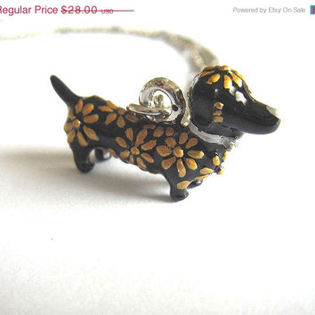VALENTINES DAY SALE Dachshund sausage dog black and gold charm silver necklace