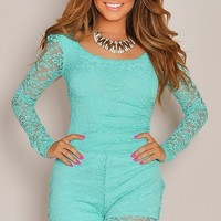 Carmen Mint Back Cut Out Long Sleeve Lace Romper