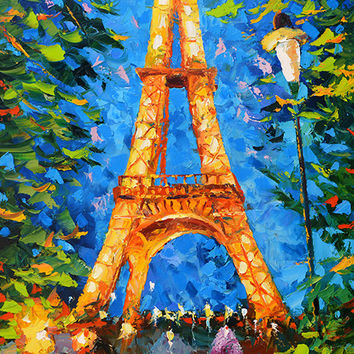 Christmas SALE - Gift - Eiffel tower at night - Dmitry Spiros. Paris, Eiffel Tower. eiffel tower oil painting, eiffel tower wall art decor,
