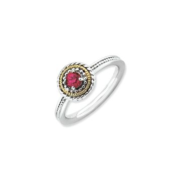 Sterling Silver & 14K Gold Plated Stackable Created Ruby Ring