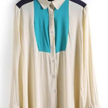 Three-Color Stitching Hit Color Shirt S010145