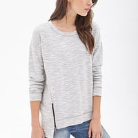 LOVE 21 Marled Knit Zippered Top Heather Grey