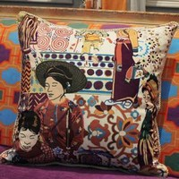 """Asian Ethnic Costume Colorful Beige Pillow 18""""X18"""""""